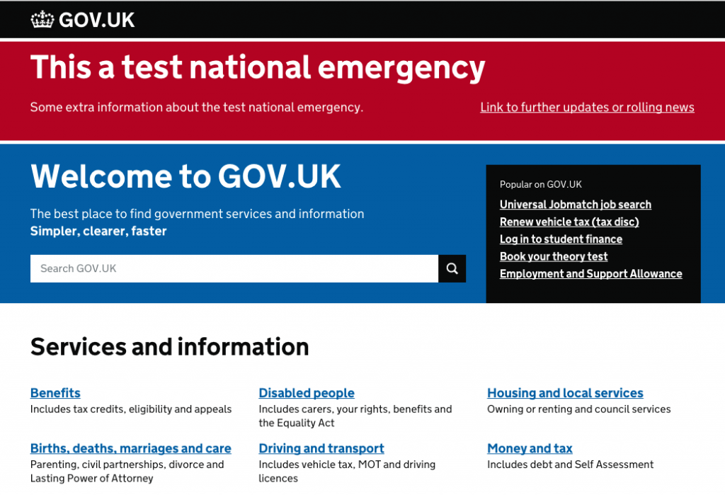 Gov.UK gameday tested its national alerting system.
