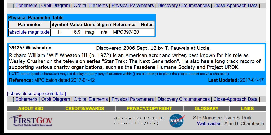 Wil Wheaton asteroid