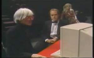 Andy Warhol at the Amiga premiere (with Deborah Harry)