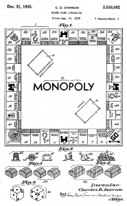 The original Monopoly board patent