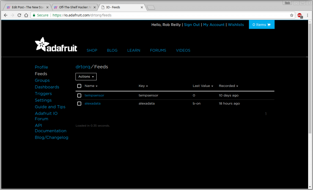Adafruit IO Feed Page