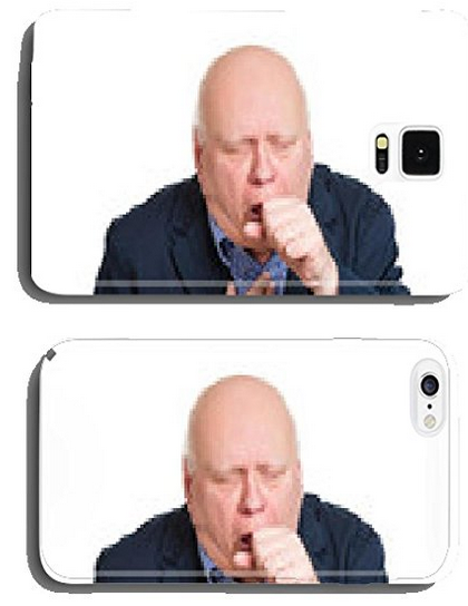 Coughing old man with bronchitis on white background cell phone cover case Samsung S5