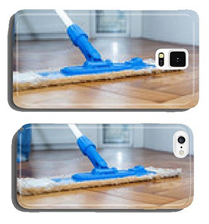 Mop cleaning a wooden floor cell phone cover case Samsung S5