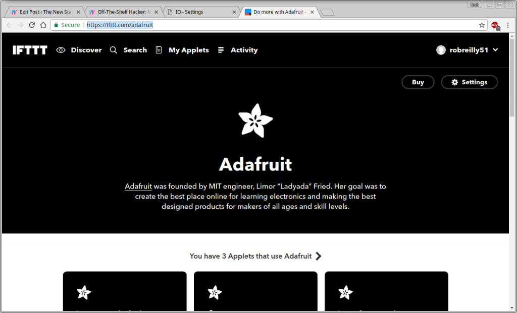 Adafruit IO - IFTTT Connection Page
