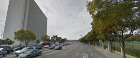 Wilshire Blvd (via Google Street View) - going against traffic