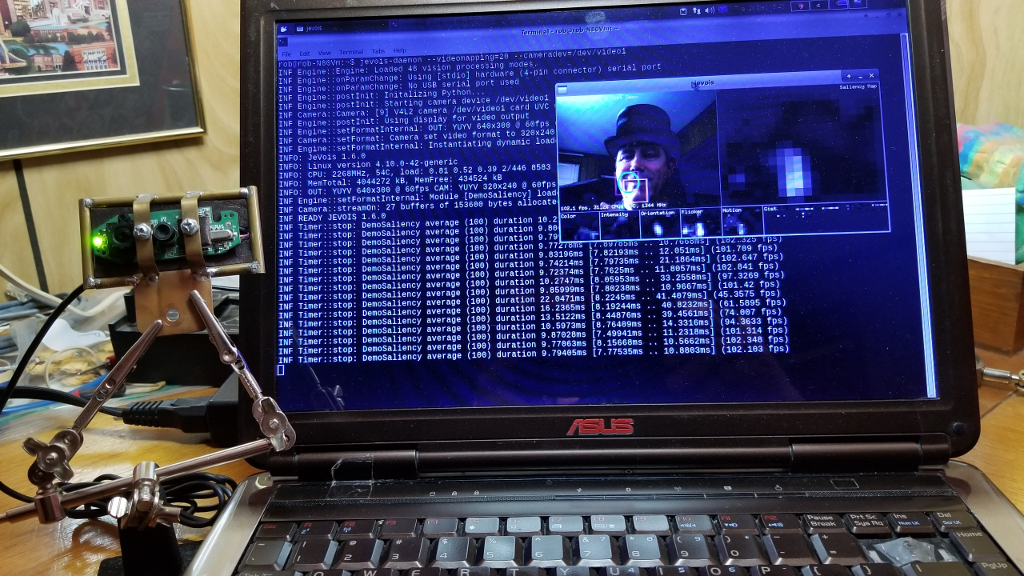 Run the JeVois Smart Machine Vision Algorithms on a Linux Notebook