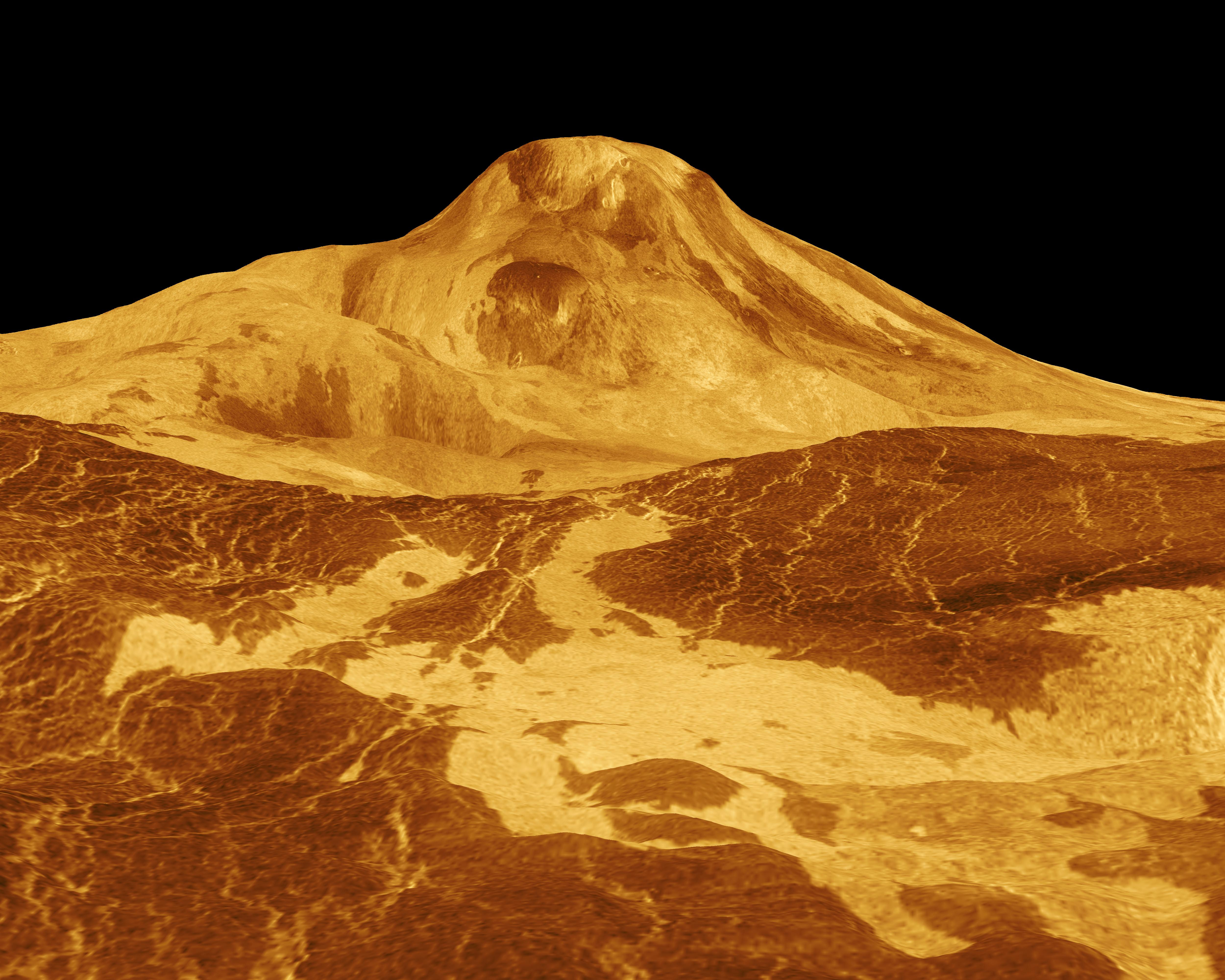 NASA - Jet Propulsion Laboratory simulated image of Maat_Mons_on_Venus (public domain via Wikipedia