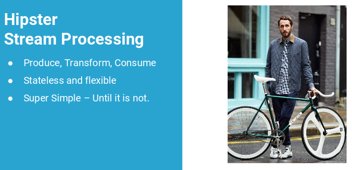 slide from gwen shapira talk showing fixie bike and saying its simple until its not