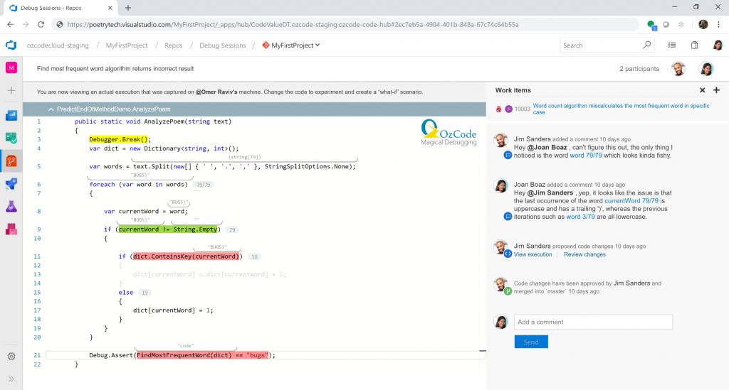 AzureDevOps Collaborative Remote Debugging with OzCode - The