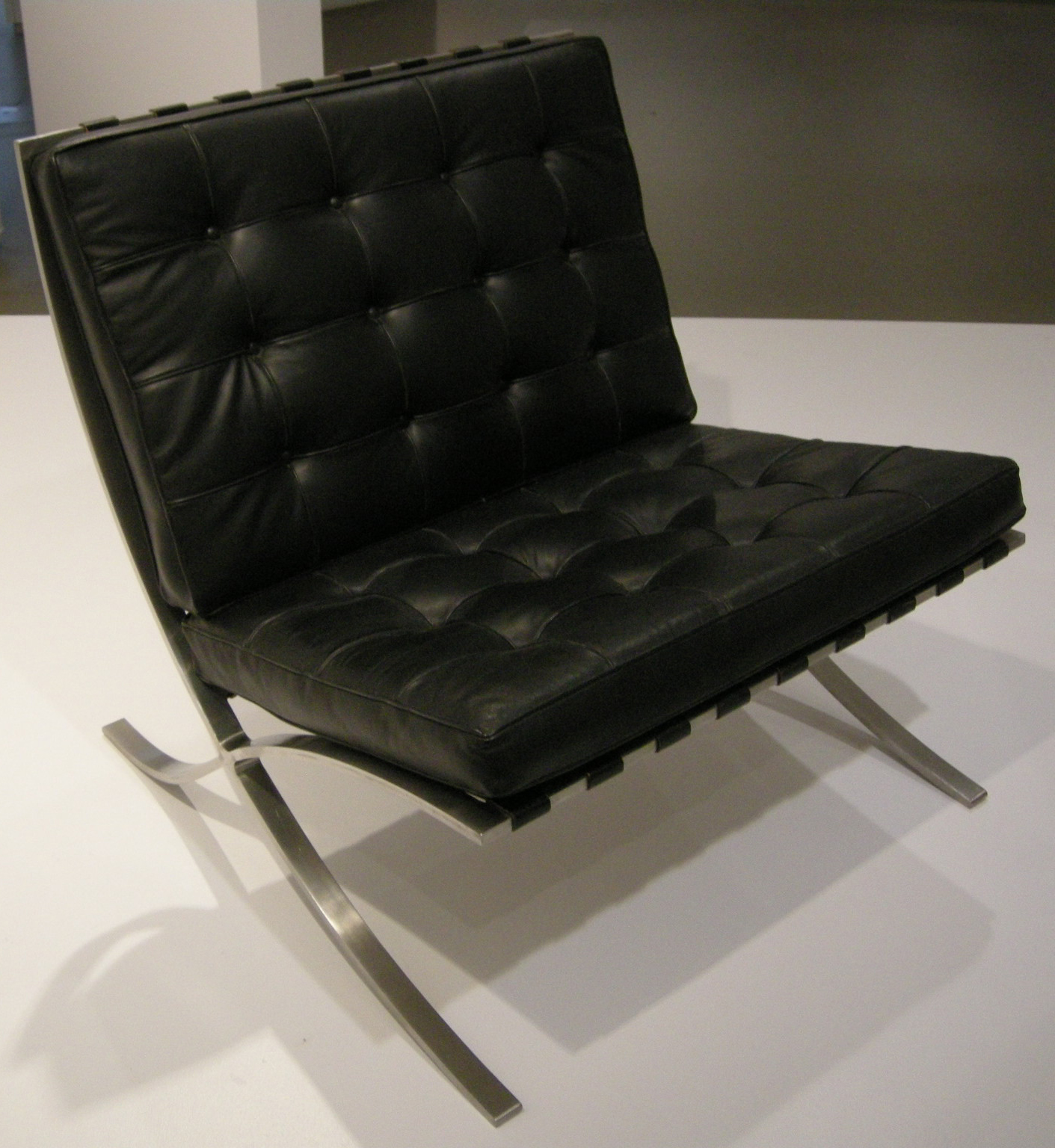 A black Barcelona chair