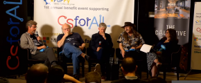 Guido van Rossum (Python), James Gosling (Java), Anders Hejlsberg (Turbo Pascal), Larry Wall (Perl) at PuPPy csforall benefit - screenshot via YouTube.