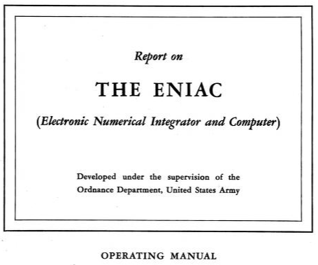 Eniac operating manual cover page