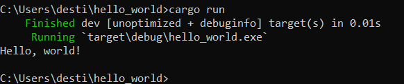Hello World run from Rust on a Windows command line
