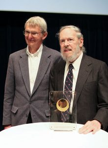 Dennis Ritchie at Japan Prize Foundation ceremony with former colleague Douglas (Doug) McIlroy in May 2011 - via Wikipedia (Creative Commons by Denise Panyik-Dale)