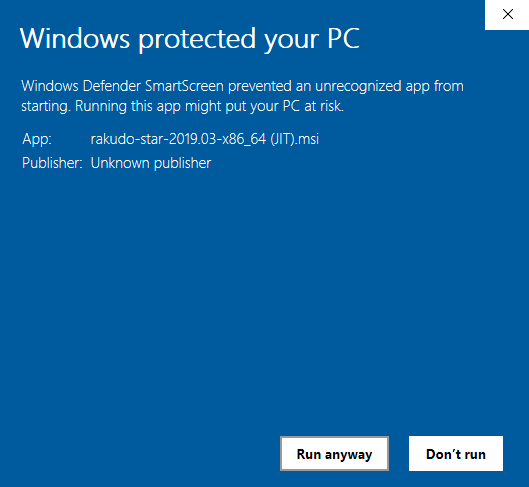 Windows protected your PC from Perl 6
