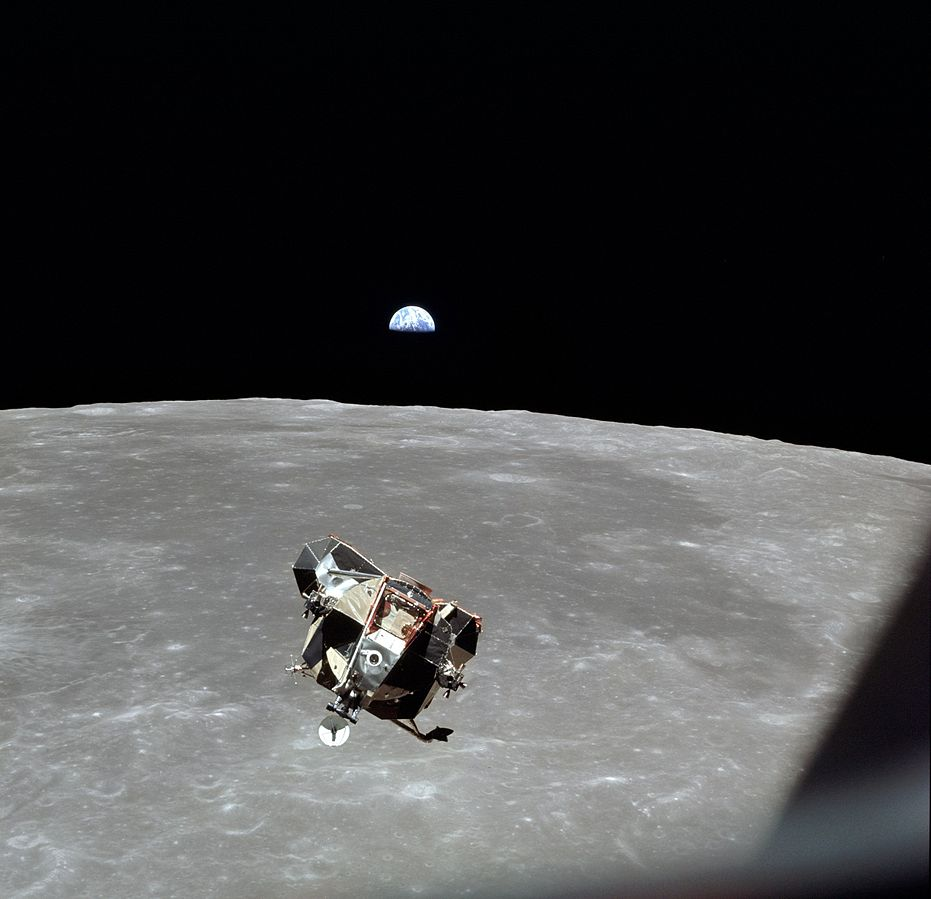 Apollo 11 lunar module descends - public domain