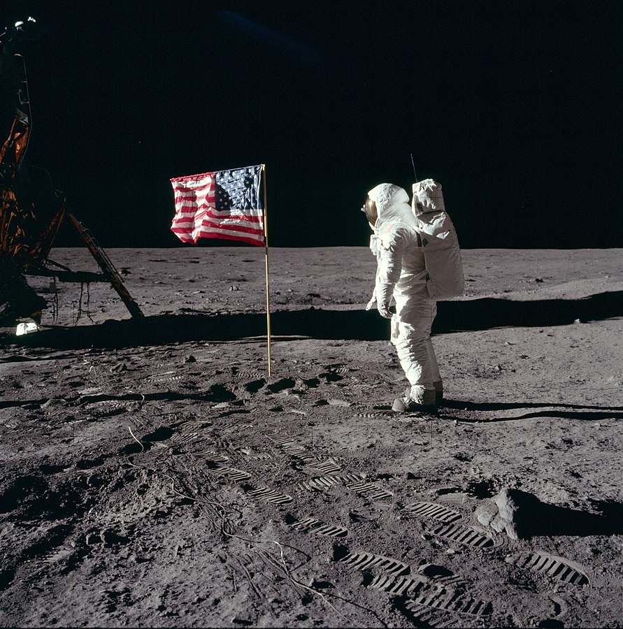 NASA photo from 1969 - on the moon Buzz and the US flag