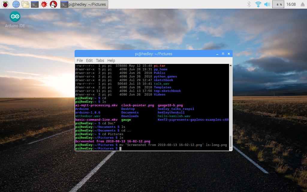 Raspberry Pi terminal window