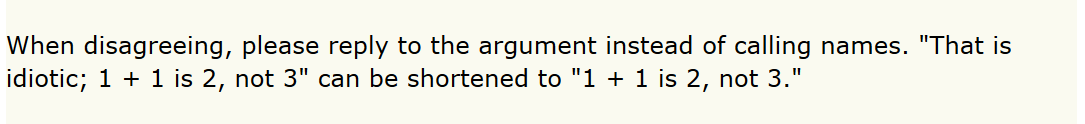 A screenshot from the Hacker News guidelines