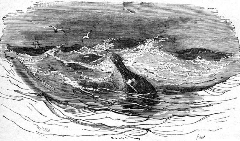 Message in a bottle illustration from Jules Verne novel (1868) The children of Captain Grant