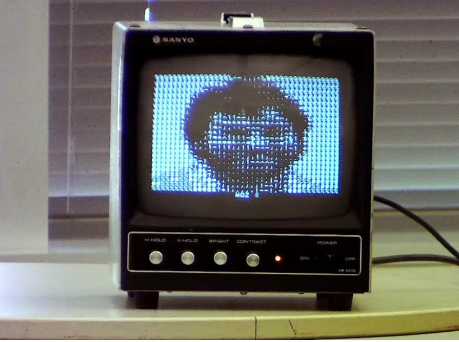 Woz image on an Apple 1 - Corey Cohen demos at VCF West 2019