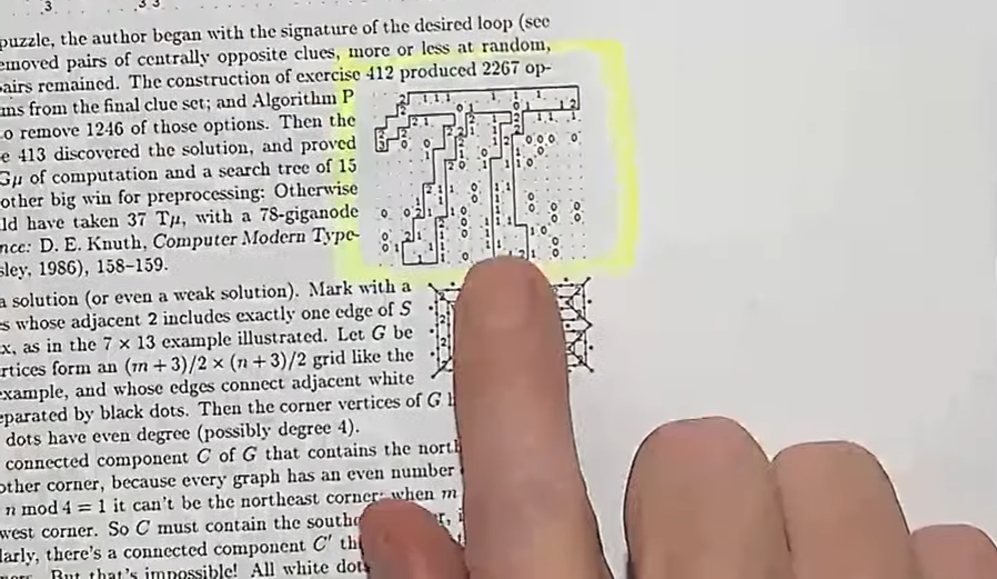 hands of Donald Knuth - screenshot from 2019 Christmas lecture (slitherlink puzzle solution is pi).