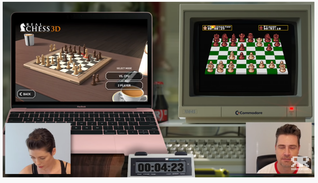 Second game - Real Chess 3D versus Chess Master 2000 (Retro Recipes) - via YouTube