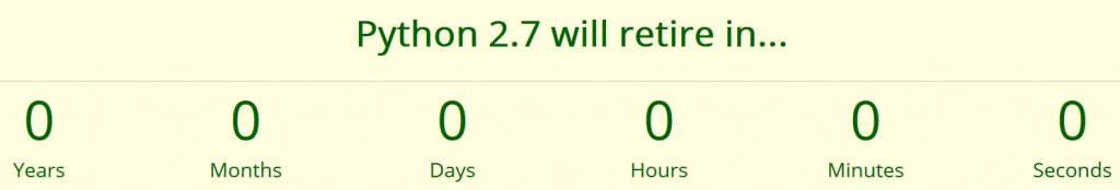 End of the countdown at Python Clock dot Org (screenshot).