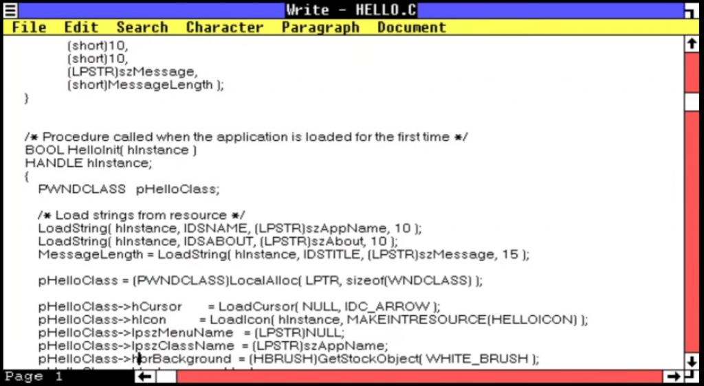 Hello World program in Windows 1 (from NCommander YouTube channel)