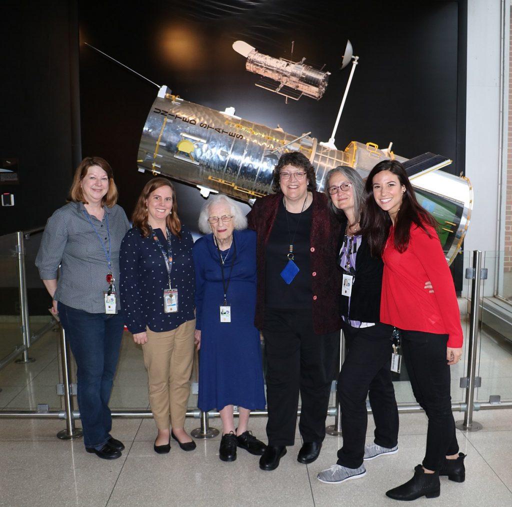 Nancy_Grace_Roman_with_Women_of_Hubble_(42081749402) - Beverly Serrano, Morgan Van Arsdall, Nancy Grace Roman, Olivia Lupie, Padi Boyd, and Erin Kisliuk