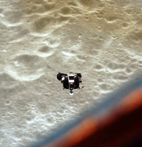 Ascent stage of Apollo 10 Lunar Module seen from Command module - NASA photo via Wikipedia