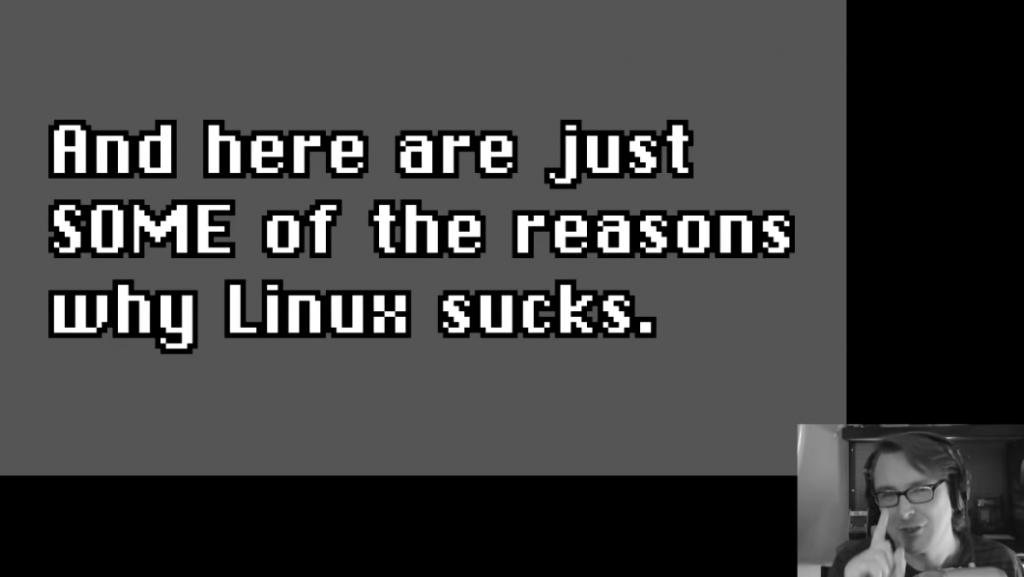 Screenshot from Bryan Lunduke Linux Sucks 2020 (via YouTube) - pointing