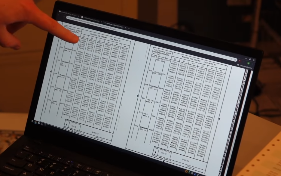 Mike Stewart shows the checksum memo Ron Burkey found for Apollo 10 AGC recreation (via Curious Marc video on YouTube)