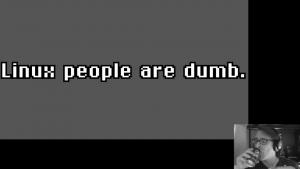 Screenshot from Bryan Lunduke Linux Sucks 2020 (via YouTube) - Linux people are dumb.png