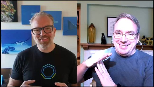 Dirk Hohndel and Linus Torvalds at virtual Open Source summit June 2020 Torvalds calls a timeout