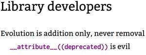 Slide from Greg Kroah-Hartman talk at Linux App Summit 2020 - library developers should not deprecate