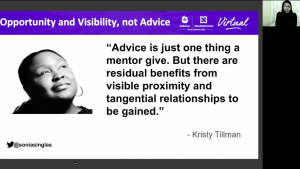 "Quote from Kristy Tillman reading ""Advice is just one thing a mentor can give. But there are residual benefits from visible proximity and tangential relationships to be gained."""