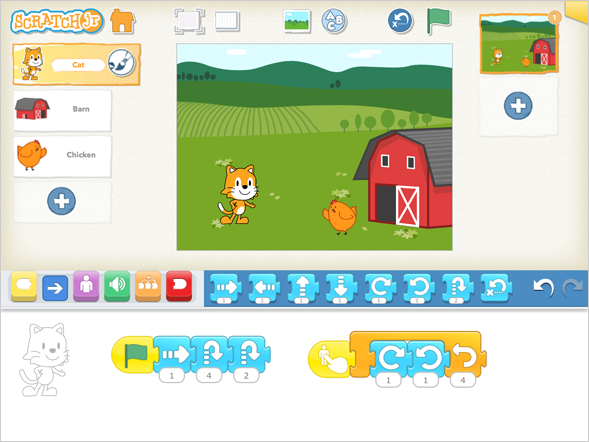 ScratchJr_Interface (Creative Commons image via Wikipedai by Tufts University, Scratch Foundation).