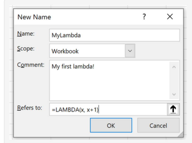 Creating a named LAMBDA function in Excel (screenshot from Excel blog)