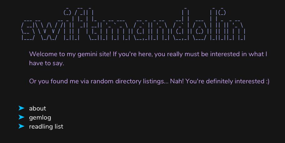 Screenshot of a Gemini site as viewed in Lagrange