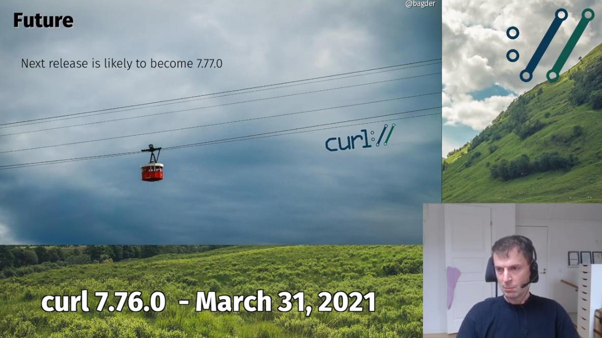 creenshot of Daniel Stenberg announcing new version of curl - next release