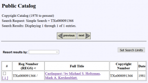 Castlequest in US Copyright Office database (screenshot)