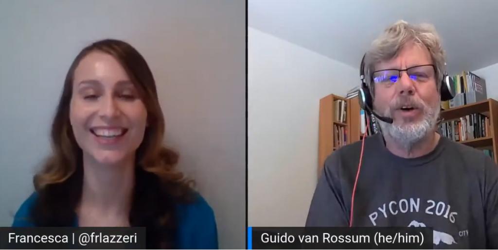 Francesca Lazzeri - Microsoft principal cloud advocate manager - speaks to Guido van Rossum at PyCon 2021