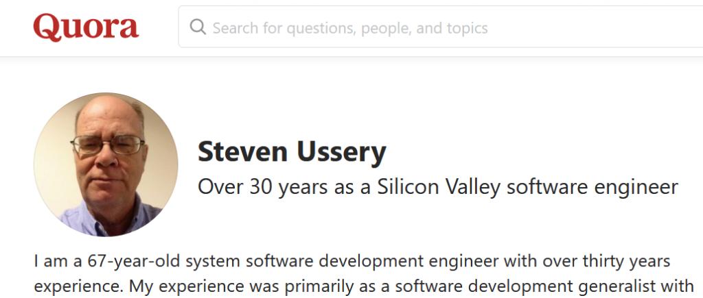 Screenshot of Steven Ussery Quora profile
