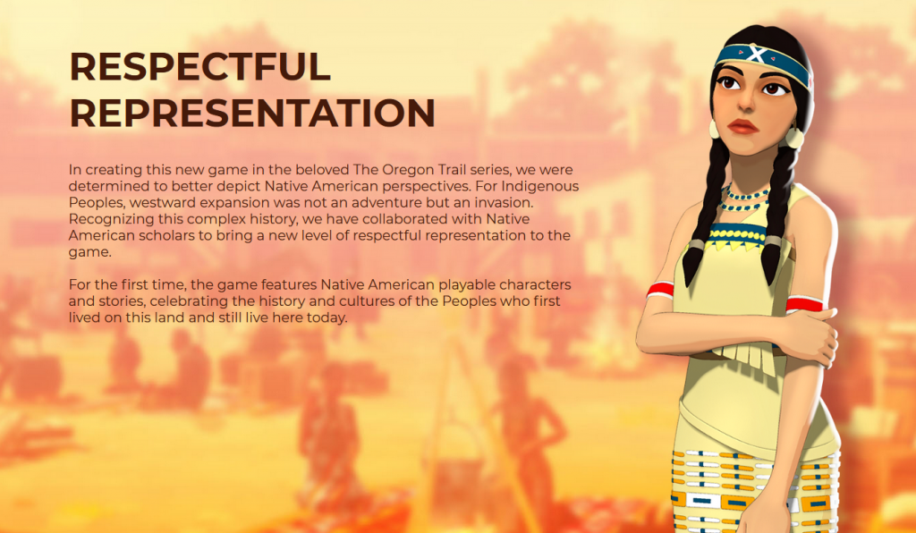 Screenshot from new Oregon Trail game official web page (Respectful Representation)