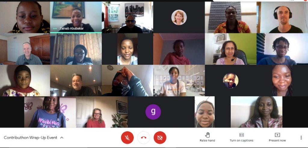 Screenshot of about 25 women of color on a zoom call