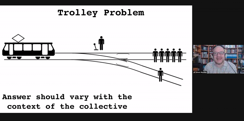"""Simon Wardley smiling net to an illustration of the Trolley Problem -- hit one or five people? -- with the text """"Answer should vary with the context of the collective."""""""