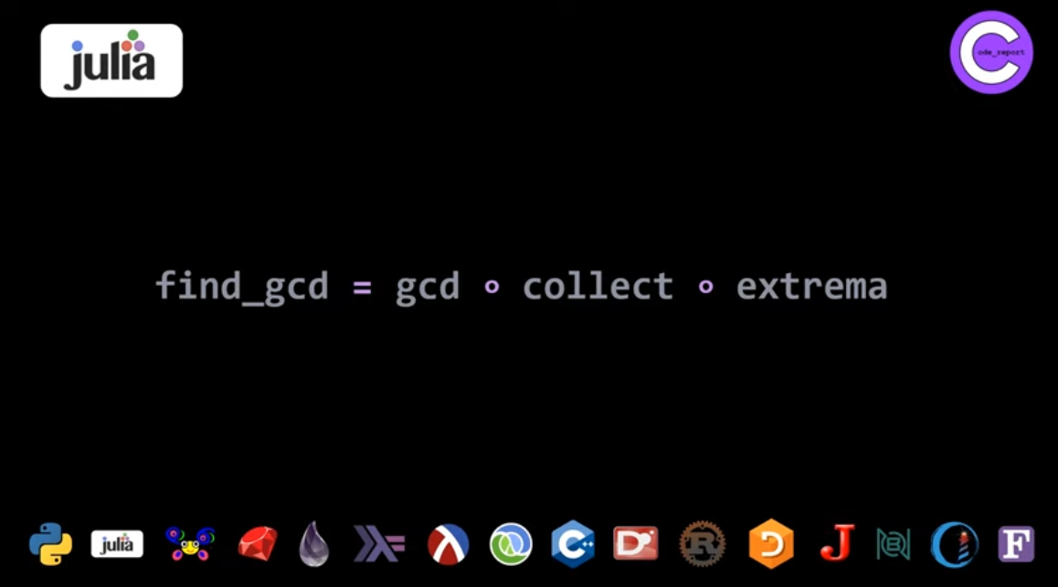 Julia (better fourth) GCD solution for LeetCode problem by Code_Report on YouTube (screenshot from video)