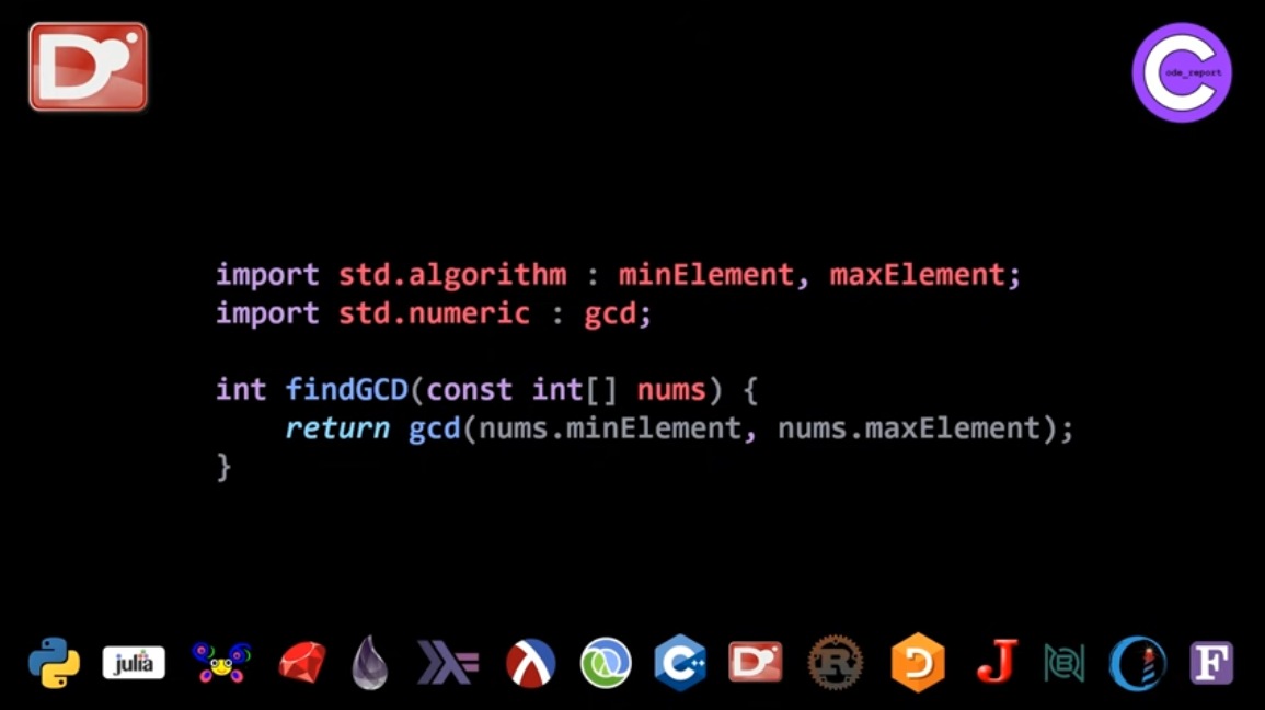 D programming language GCD solution for LeetCode problem by Code_Report on YouTube (screenshot from video)
