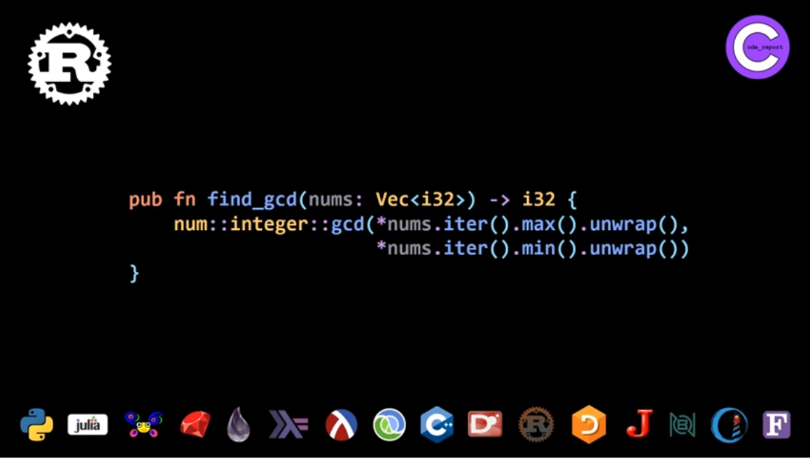 Rust programming language GCD solution for LeetCode problem by Code_Report on YouTube (screenshot from video)